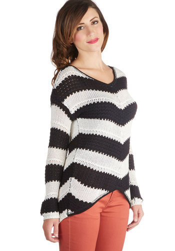 Morning, Noon, and Knit Sweater - Short, Knit, Black, Chevron, 70s, Long Sleeve, Better, V Neck, White, Knitted, Multi, Long Sleeve
