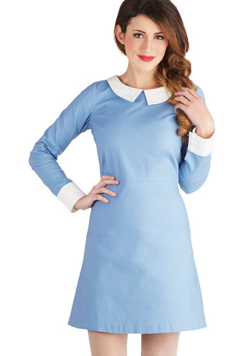 Mod with Love Dress - Vintage Inspired, 60s, Mod, Blue, White, Peter Pan Collar, Casual, Scholastic/Collegiate, A-line, Long Sleeve, Better, Collared, Mid-length, Cotton, Woven, Winter