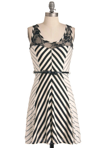 Line of Sight Dress - Mid-length, Casual, Rockabilly, Stripes, Lace, Sheath / Shift, Bows, Black, White, Sleeveless, Chevron