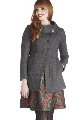 Extra Whip Coat in Fog by Tulle Clothing - 3, Grey, Solid, Buttons, Pockets, Long Sleeve, Fall, Exclusives, Knit, Long, Grey