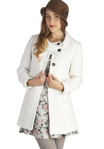 Extra Whip Coat in Cloud by Tulle Clothing - Cream, Solid, Buttons, Exclusives, Long Sleeve, Better, 3, Knit, Long, White