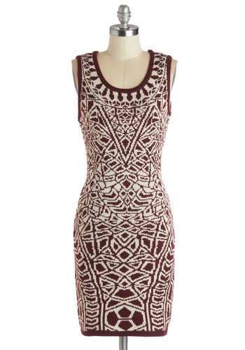 Up Close and Personality Dress - Red, Tan / Cream, Print, Casual, Shift, Sleeveless, Good, Scoop, Knit, Mid-length, Bodycon / Bandage, 90s, Winter