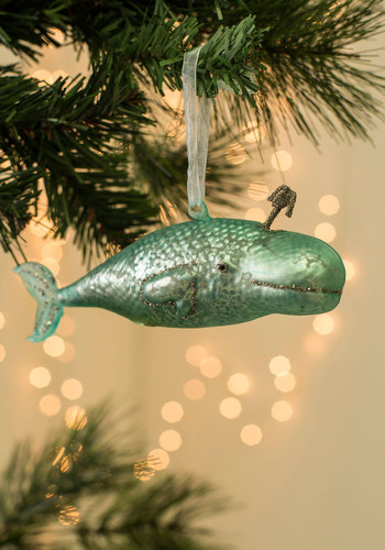 Sea-son's Tidings Ornament in Blue Whale - Blue, Good, Holiday, Solid