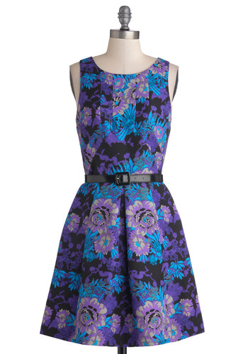Plenty by Tracy Reese Bold Bouquets Dress by Plenty by Tracy Reese - Purple, Blue, Black, Floral, Belted, Party, A-line, Sleeveless, Better, Mid-length, Woven, Daytime Party