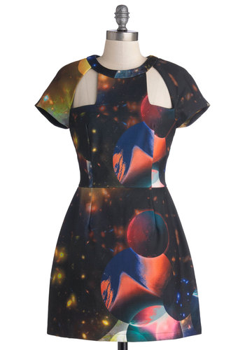 Reach for the Moonlight Dress - Short, Woven, Black, Multi, Print, Cutout, Cosmic, A-line, Short Sleeves, Better, Crew, Girls Night Out, Party, Statement