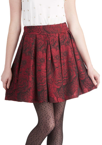 Bloom and Glow Skirt by Darling - Red, Floral, Pleats, Party, Mid-length, Woven, Holiday Party, Ballerina / Tutu, Red