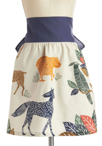 Forest Course Meal Apron - Multi, Print with Animals, Better, Woven, Hostess, Critters