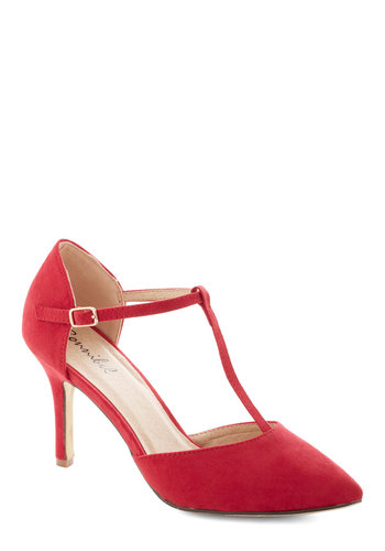Get It, Got It, Go-See Heel in Red - Mid, Faux Leather, Red, Solid, Prom, Party, Cocktail, Girls Night Out, Holiday Party, T-Strap, Formal, Wedding, Variation