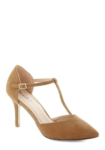 Get It, Got It, Go-See Heel in Tan - Mid, Faux Leather, Tan, Prom, Wedding, Party, Cocktail, Girls Night Out, Holiday Party, Graduation, Bridesmaid, T-Strap, Solid, Variation