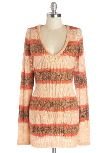 Romancing the Scone Sweater - Knit, Long, Orange, Brown, Stripes, Long Sleeve, V Neck, Pockets, Vintage Inspired, Fall, Orange, Long Sleeve