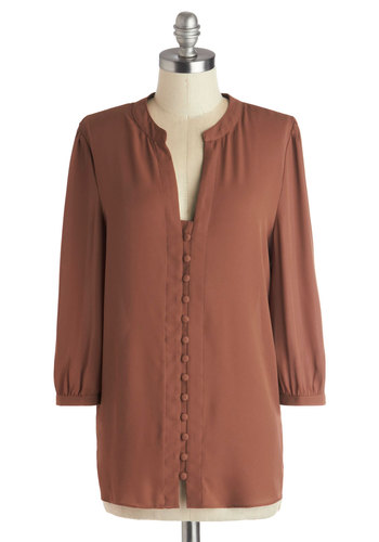 Troupe Project Top - Woven, Mid-length, Solid, Buttons, 70s, 3/4 Sleeve, Better, Tan, Work, Vintage Inspired, Brown, 3/4 Sleeve