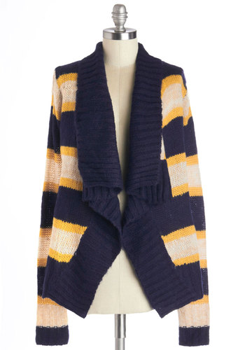 Romancing the Scone Cardigan in Navy - Knit, Woven, Mid-length, Blue, Yellow, Tan / Cream, Stripes, Long Sleeve, Fall, Variation, Collared, Multi, Long Sleeve