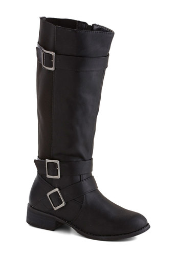 Fiddle Me This Boot in Noir - Low, Faux Leather, Black, Solid, Buckles, Casual, Fall, Variation