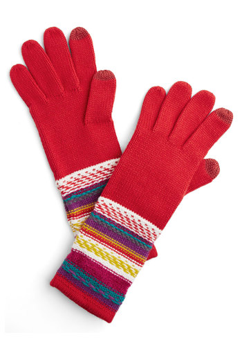 Inn Touch Gloves - Red, Multi, Solid, Stripes, Fall, Winter, Better, Knit, Casual, Holiday