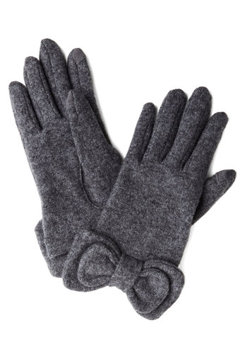 Not to Worry Gloves in Grey - Grey, Solid, Bows, Fall, Winter, Best, Variation, Knit, Holiday