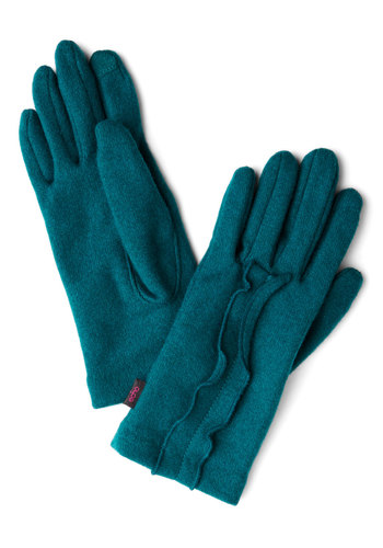 Touch of True Beauty Gloves in Teal - Blue, Solid, Ruffles, Fall, Winter, Better, Variation