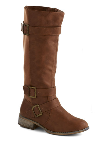 Fiddle Me This Boot in Chestnut - Low, Faux Leather, Tan, Solid, Buckles, Casual, Rustic, Fall, Variation
