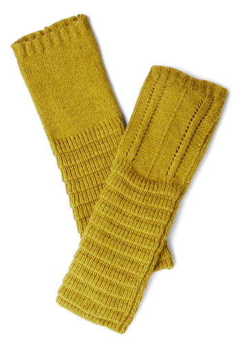 Pointelle-Tale Charm Glovettes in Grass - Green, Solid, Fall, Winter, Better, Knit