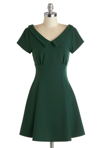 Convivial Celebration Dress - Green, Solid, Pleats, Work, Casual, Vintage Inspired, 60s, A-line, Cap Sleeves, Good, V Neck, Collared, Short, Woven