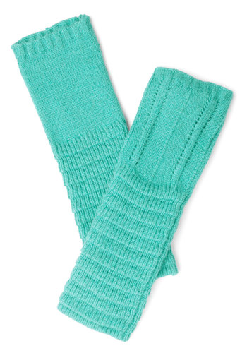 Pointelle-Tale Charm Glovettes in Sky - Mint, Solid, Fall, Winter, Better, Knit