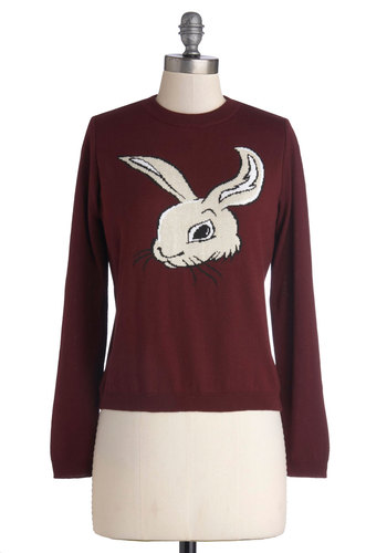 Isn't It Bunny Sweater - Knit, Short, Red, Tan / Cream, Black, Print with Animals, Quirky, Long Sleeve, Better, Crew, Casual, Red, Long Sleeve