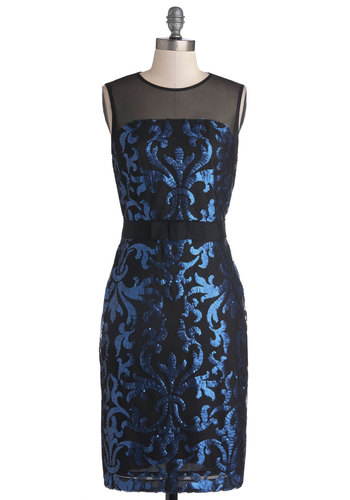 Deep Seascape Dress - Mid-length, Sheer, Knit, Black, Blue, Print, Bows, Sequins, Cocktail, Shift, Sleeveless, Best, Crew, Holiday Party