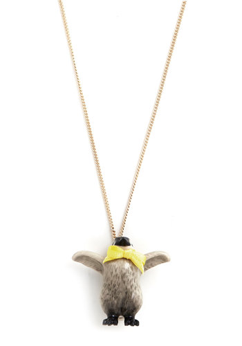 Happy Feat Necklace - Black, White, Yellow, Print with Animals, Bows, Better, International Designer, Winter, Gold, Quirky, Critters
