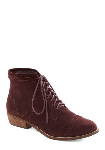 Performance Poet Bootie in Deep Burgundy by Dolce Vita - Low, Leather, Suede, Red, Solid, Best, Lace Up, Casual, Variation