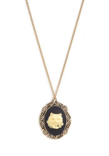 Make It Countenance Necklace by And Mary - Cream, Black, Gold, Print with Animals, French / Victorian, Cats, Better, International Designer, Silver