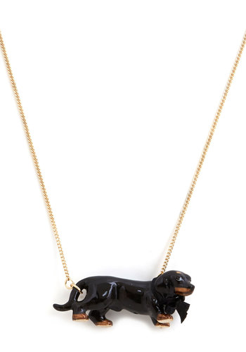 Dachshund My Love Necklace - Black, Brown, Print with Animals, Gold, Better, Bows