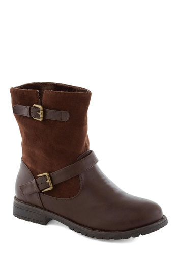 Cocoa Power Boot - Brown, Solid, Buckles, Flat, Faux Leather
