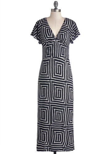 Take it to Limitless Dress by Ruby Rocks - Knit, Long, Black, White, Print, Casual, Maxi, Short Sleeves, Better, V Neck