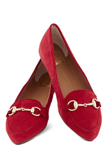 Hello, Loafer Flat by Dolce Vita - Leather, Flat, Suede, Red, Solid, Chain, Work, Better