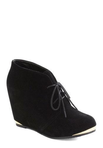 Boutique Opening Bootie in Black - Mid, Black, Solid, Wedge, Lace Up, Girls Night Out, Faux Leather, Variation