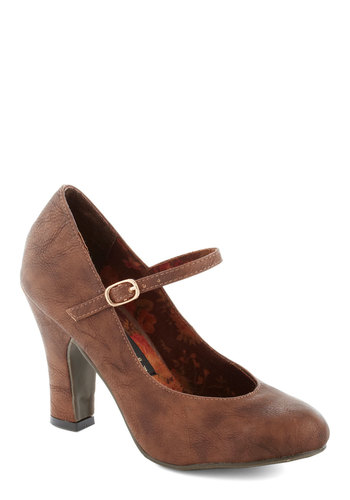 Corner Office Confidence Heel in Coffee by Bait Footwear - Mid, Faux Leather, Brown, Solid, Work, Vintage Inspired, 70s, Mary Jane, Variation