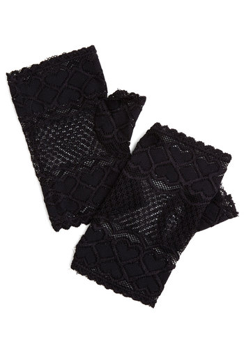 Ravishing Romance Glovettes - Sheer, Knit, Black, Solid, Lace, Scallops, Good, Vintage Inspired, 80s, Halloween