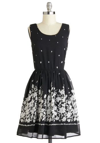 Night Breeze Dress - Black, White, Floral, Daytime Party, A-line, Sleeveless, Better, Scoop, Mid-length, Chiffon, Woven