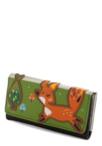Dens and Twenties Wallet - Faux Leather, Print with Animals, Green, Multi