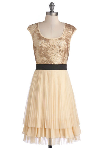 Strikingly Stunning Dress by Ryu - Cream, Black, Backless, Sequins, Party, Holiday Party, A-line, Cap Sleeves, Better, Scoop, Mid-length, Satin, Knit, Gold, Pleats