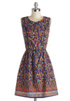 Pretty, Pretty Print-cess Dress by Ruby Rocks - Mid-length, Cotton, Woven, Floral, Cutout, A-line, Sleeveless, Better, Scoop, Multi, Blue, Backless, Daytime Party