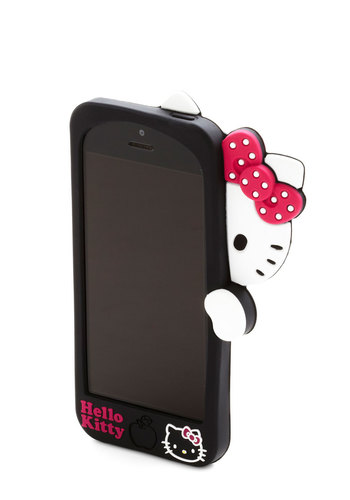 Hello, Kitty? iPhone 5/5S Case - Black, Multi, Print with Animals, Travel, Bows, Kawaii, Cats