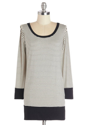 Weekend Staple Top - Knit, Long, White, Black, Stripes, Long Sleeve, Better, Scoop, Casual, Green, Tab Sleeve