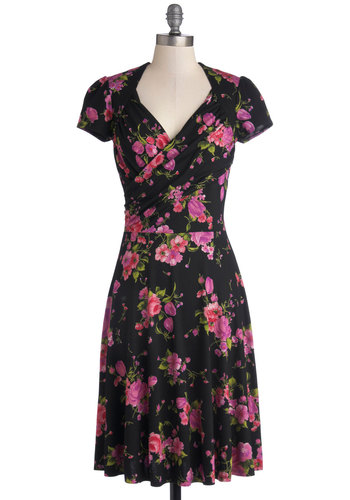 Kelly's Vivid in the Moment Dress in Floral - Knit, Jersey, Black, Pink, Floral, Casual, A-line, Cap Sleeves, Best, Work, Variation, V Neck, Long