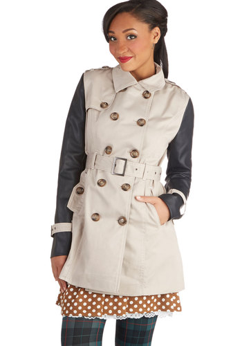 Classic with a Twist Coat - Long, Faux Leather, Woven, 2, Tan, Black, Solid, Buttons, Epaulets, Pockets, Belted, Double Breasted, Long Sleeve, Fall