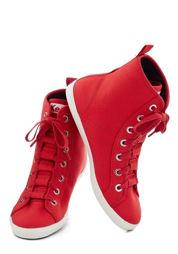 Kickball or Nothin' Sneaker by Keds - Low, Woven, Red, Solid, Better, Lace Up, Casual, Urban, 90s