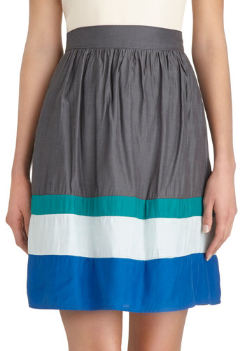 Vice Versatile Skirt - Woven, Exclusives, Mid-length, Grey, Stripes, Pockets, Casual, A-line, Grey, Spring, Summer