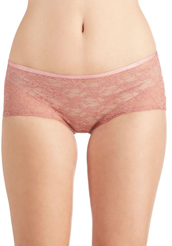 Dainty Day Off Undies in Rose Boyshort - Pink, Solid, Lace, Sheer, Knit, Pastel, Variation