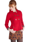 Let's See Cleveland Jacket by Tulle Clothing - Red, Solid, Buttons, Pockets, Double Breasted, Long Sleeve, Collared, Woven, 3, Mid-length, Red