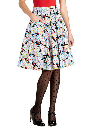On a Barrel Roll Skirt in Bingo by Bea & Dot - Cotton, Woven, Multi, Novelty Print, Pockets, Casual, Ballerina / Tutu, Multi, Spring, Winter, Mid-length