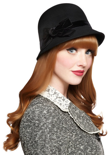 Afternoon at the Races Hat - Black, Solid, Bows, Better, Vintage Inspired, 20s, Winter